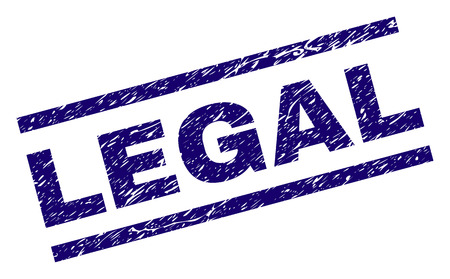 LEGAL seal print with distress style. Blue vector rubber print of LEGAL text with grunge texture. Text tag is placed between parallel lines.