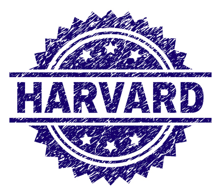 HARVARD stamp seal watermark with distress style. Blue vector rubber print of HARVARD tag with corroded texture.