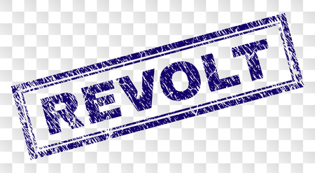 REVOLT stamp seal print with rubber print style and double framed rectangle shape. Stamp is placed on a transparent background. Blue vector rubber print of REVOLT caption with corroded texture.