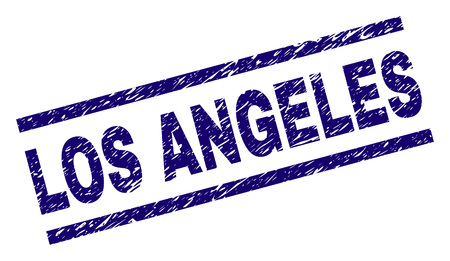LOS ANGELES seal print with scratced style. Blue vector rubber print of LOS ANGELES title with grunge texture. Text title is placed between parallel lines.
