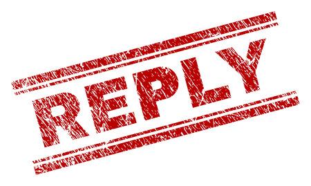 Stampa sigillo REPLY con texture grunge. Stampa in gomma rossa di vettore dell'etichetta REPLY con texture graffiata. Il titolo del testo è posizionato tra doppie linee parallele.