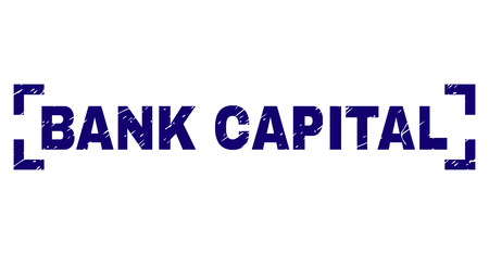 BANK CAPITAL text seal imprint with distress texture. Text tag is placed between corners. Blue vector rubber print of BANK CAPITAL with grunge texture.