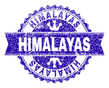 HIMALAYAS rosette stamp seal imitation with grunge texture. Designed with round rosette, ribbon and small crowns. Blue vector rubber watermark of HIMALAYAS label with grunge texture.