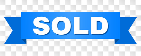 SOLD text on a ribbon. Designed with white caption and blue stripe. Vector banner with SOLD tag on a transparent background.