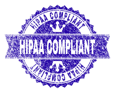 Marca de agua de sello de roseta que cumple con la ley HIPAA con textura de angustia. Diseñado con roseta redonda, cinta y pequeñas coronas. Marca de agua de goma de vector azul del título CUMPLE HIPAA con estilo de polvo.