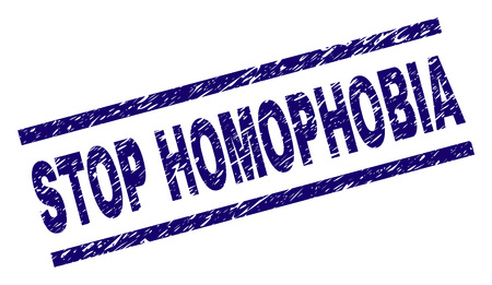 STOP HOMOPHOBIA seal watermark with distress style. Blue vector rubber print of STOP HOMOPHOBIA text with unclean texture. Text tag is placed between parallel lines.