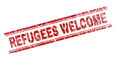 REFUGEES WELCOME seal print with grunge effect. Red vector rubber print of REFUGEES WELCOME title with dust texture. Text title is placed between double parallel lines.