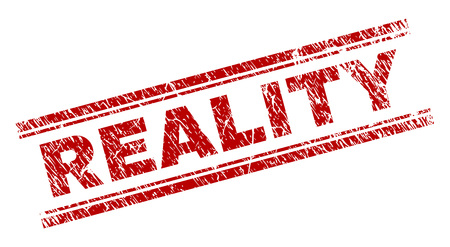 REALITY seal print with distress texture. Red vector rubber print of REALITY title with grunge texture. Text tag is placed between double parallel lines.