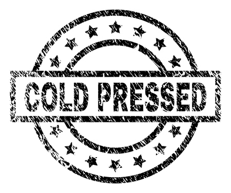 COLD PRESSED stamp seal watermark with distress style. Designed with rectangle, circles and stars. Black vector rubber print of COLD PRESSED caption with dirty texture. Illusztráció