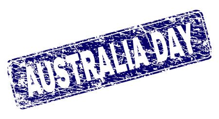 AUSTRALIA DAY stamp seal print with grunge style. Seal shape is a rounded rectangle with frame. Blue vector rubber print of AUSTRALIA DAY title with corroded style.