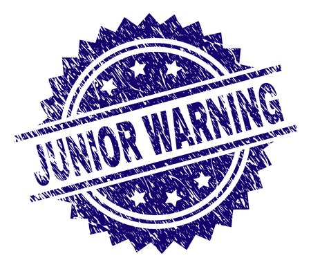 JUNIOR WARNING stamp seal watermark with distress style. Blue vector rubber print of JUNIOR WARNING text with retro texture.