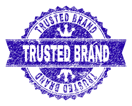 TRUSTED BRAND rosette stamp seal imitation with distress texture. Designed with round rosette, ribbon and small crowns. Blue vector rubber print of TRUSTED BRAND caption with dust texture. Illustration