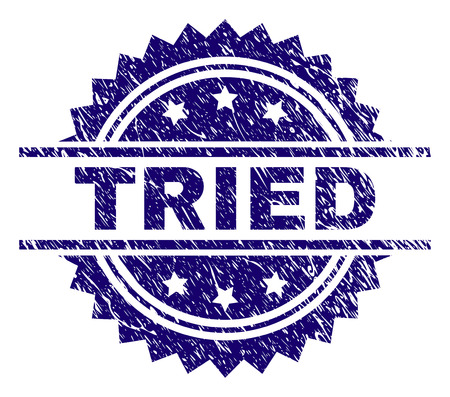 TRIED stamp seal watermark with distress style. Blue vector rubber print of TRIED text with dust texture. Stock Illustratie