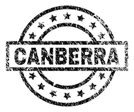 CANBERRA stamp seal watermark with distress style. Designed with rectangle, circles and stars. Black vector rubber print of CANBERRA caption with unclean texture.