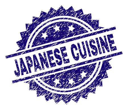 JAPANESE CUISINE stamp seal watermark with distress style. Blue vector rubber print of JAPANESE CUISINE tag with scratched texture.