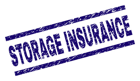 STORAGE INSURANCE seal print with distress style. Blue vector rubber print of STORAGE INSURANCE text with corroded texture. Text tag is placed between parallel lines.