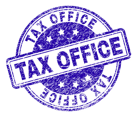 TAX OFFICE stamp seal imprint with distress texture. Designed with rounded rectangles and circles. Blue vector rubber print of TAX OFFICE text with dust texture.