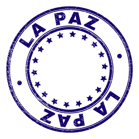 LA PAZ stamp seal watermark with distress texture. Designed with round shapes and stars. Blue vector rubber print of LA PAZ text with scratched texture. Ilustração
