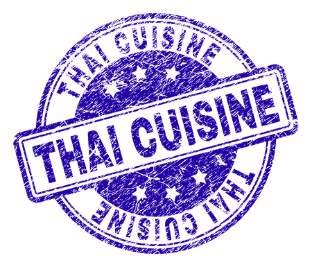 THAI CUISINE stamp seal imprint with grunge style. Designed with rounded rectangles and circles. Blue vector rubber print of THAI CUISINE caption with grunge texture. Vettoriali