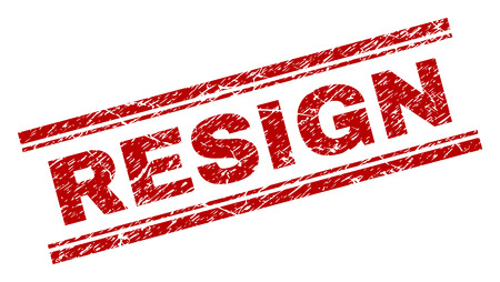 RESIGN seal print with distress effect. Red vector rubber print of RESIGN caption with scratched texture. Text caption is placed between double parallel lines.