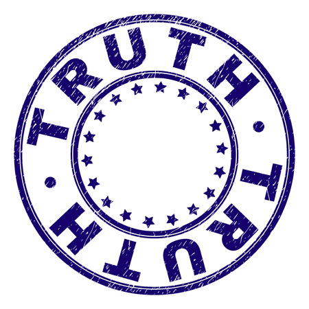TRUTH stamp seal imprint with grunge texture. Designed with circles and stars. Blue vector rubber print of TRUTH label with scratched texture. Illustration