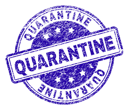 QUARANTINE stamp seal watermark with grunge texture. Designed with rounded rectangles and circles. Blue vector rubber print of QUARANTINE title with grunge texture.
