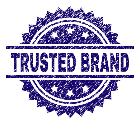 TRUSTED BRAND stamp seal watermark with distress style. Blue vector rubber print of TRUSTED BRAND title with grunge texture.