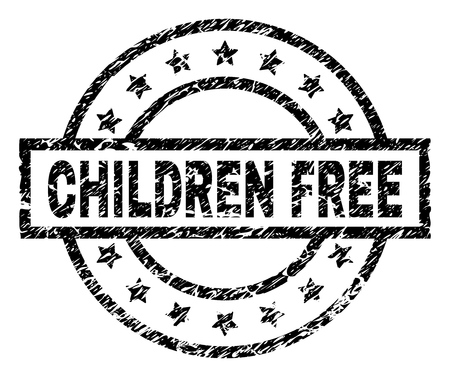 CHILDREN FREE stamp seal watermark with distress style. Designed with rectangle, circles and stars. Black vector rubber print of CHILDREN FREE text with retro texture.