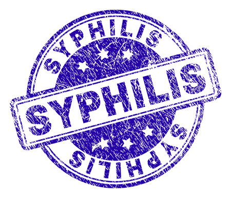 SYPHILIS stamp seal imprint with grunge texture. Designed with rounded rectangles and circles. Blue vector rubber print of SYPHILIS text with grunge texture.