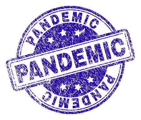 Marca de agua de sello de sello pandémico con textura de socorro. Diseñado con rectángulos y círculos redondeados. Impresión de goma de vector azul del título PANDEMIC con textura rayada.