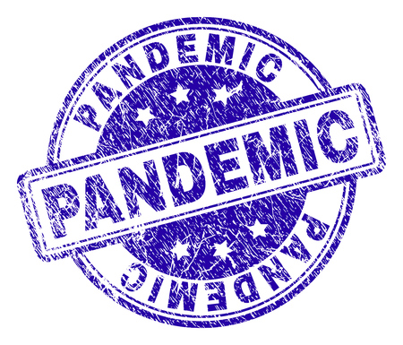 PANDEMIC stamp seal watermark with distress texture. Designed with rounded rectangles and circles. Blue vector rubber print of PANDEMIC title with scratched texture. Иллюстрация