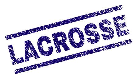 Impression de sceau LACROSSE avec style grunge. Impression en caoutchouc de vecteur bleu de l'étiquette LACROSSE avec texture grunge. L'étiquette de texte est placée entre des lignes parallèles. Vecteurs