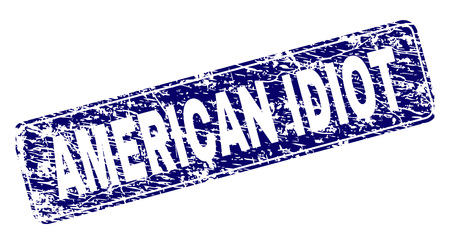 AMERICAN IDIOT stamp seal print with distress style. Seal shape is a rounded rectangle with frame. Blue vector rubber print of AMERICAN IDIOT text with grunge style. Ilustração