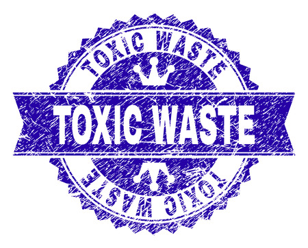 TOXIC WASTE rosette stamp imprint with distress texture. Designed with round rosette, ribbon and small crowns. Blue vector rubber print of TOXIC WASTE caption with corroded texture. Illustration