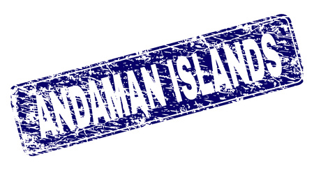 ANDAMAN ISLANDS stamp seal print with grunge style. Seal shape is a rounded rectangle with frame. Blue vector rubber print of ANDAMAN ISLANDS caption with grunge style. Иллюстрация