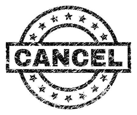 CANCEL stamp seal watermark with distress style. Designed with rectangle, circles and stars. Black vector rubber print of CANCEL caption with corroded texture.