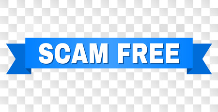 SCAM FREE text on a ribbon. Designed with white caption and blue tape. Vector banner with SCAM FREE tag on a transparent background.