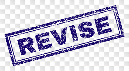 REVISE stamp seal watermark with corroded style and double framed rectangle shape. Stamp is placed on a transparent background. Blue vector rubber print of REVISE label with corroded texture.