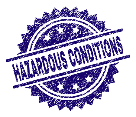 HAZARDOUS CONDITIONS stamp seal watermark with distress style. Blue vector rubber print of HAZARDOUS CONDITIONS title with dust texture.