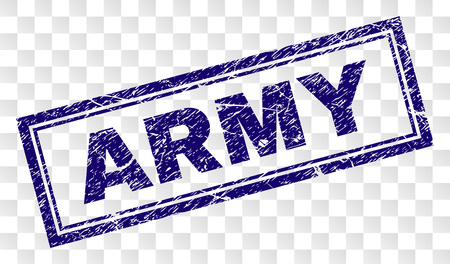 ARMY stamp seal watermark with rubber print style and double framed rectangle shape. Stamp is placed on a transparent background. Blue vector rubber print of ARMY caption with retro texture.