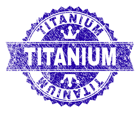 TITANIUM rosette stamp seal watermark with distress style. Designed with round rosette, ribbon and small crowns. Blue vector rubber watermark of TITANIUM title with corroded style.