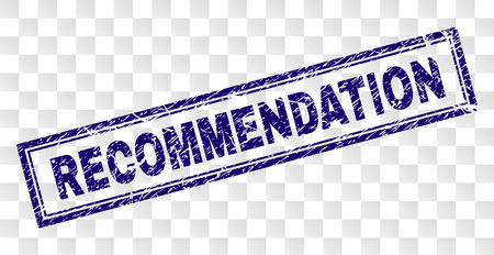 RECOMMENDATION stamp seal watermark with rubber print style and double framed rectangle shape. Stamp is placed on a transparent background.