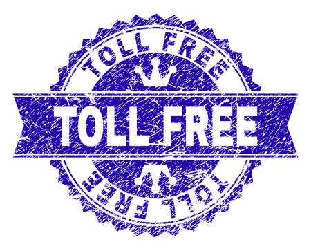 TOLL FREE rosette seal overlay with distress texture. Designed with round rosette, ribbon and small crowns. Blue vector rubber watermark of TOLL FREE label with unclean texture.
