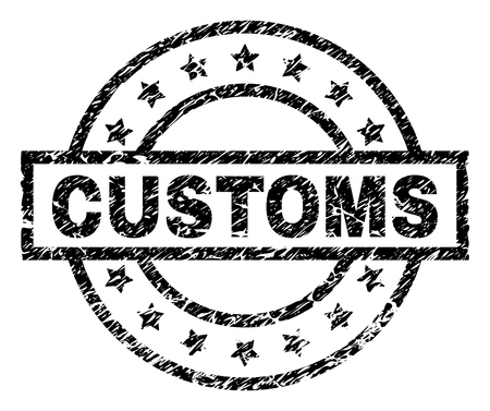 CUSTOMS stamp seal watermark with distress style. Designed with rectangle, circles and stars. Black vector rubber print of CUSTOMS title with retro texture.
