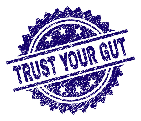 TRUST YOUR GUT stamp seal watermark with distress style. Blue vector rubber print of TRUST YOUR GUT text with unclean texture.