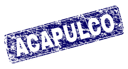 ACAPULCO stamp seal print with grunge texture. Seal shape is a rounded rectangle with frame. Blue vector rubber print of ACAPULCO text with grunge texture.