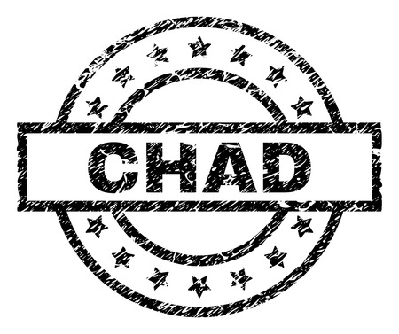 CHAD stamp seal watermark with distress style. Designed with rectangle, circles and stars. Black vector rubber print of CHAD title with retro texture.