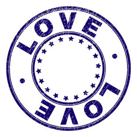 LOVE stamp seal imprint with distress texture. Designed with round shapes and stars. Blue vector rubber print of LOVE title with retro texture.