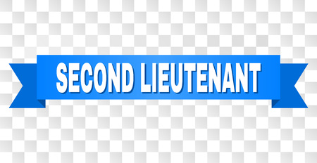 SECOND LIEUTENANT text on a ribbon. Designed with white title and blue stripe. Vector banner with SECOND LIEUTENANT tag on a transparent background.