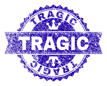 TRAGIC rosette seal watermark with distress style. Designed with round rosette, ribbon and small crowns. Blue vector rubber watermark of TRAGIC label with dirty style.